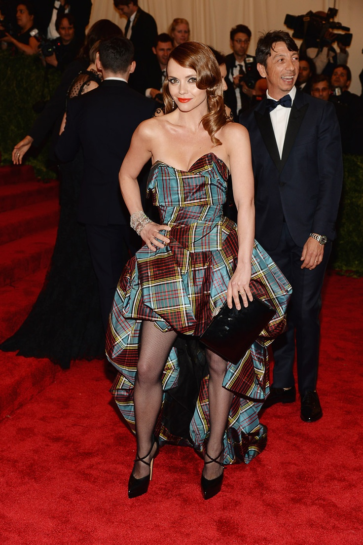 The actress certainly kept on theme with a plaid Vivenne Westwood, but were not sure about those fishnet tights