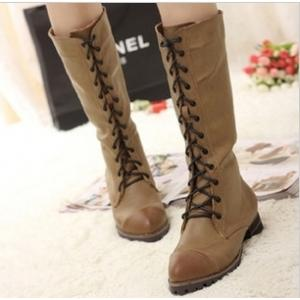 Retro English-Style Lace-Up Low-Heeled Frye Boots