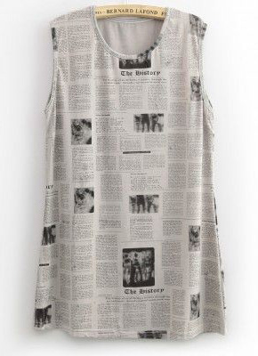 Fashionable Newspaper Print Shaping Vest - T-shirts - Vests - Clothing - Solilor
