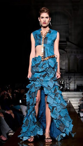 LA Fashion Week Newspaper Dress By Jalyse Hanna-Common Currency