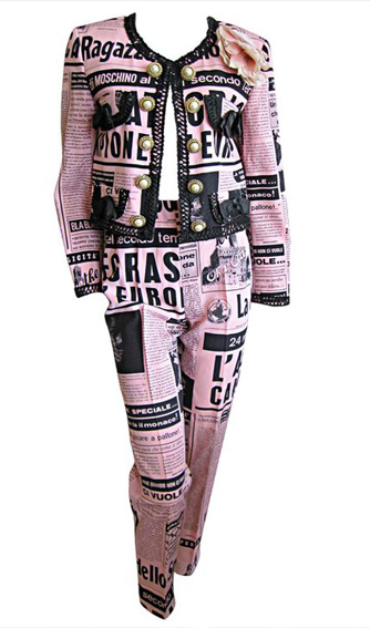 Moschino Couture 1983 Newspaper Print suit