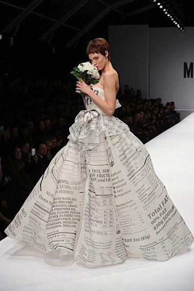 Newspaper print ballgown at Moschino Fall 2014