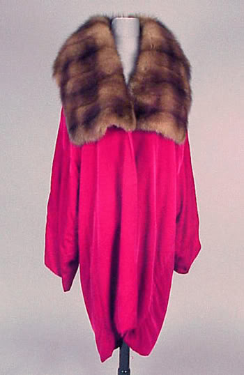 Cherry Red Velvet and Sable Evening Coat